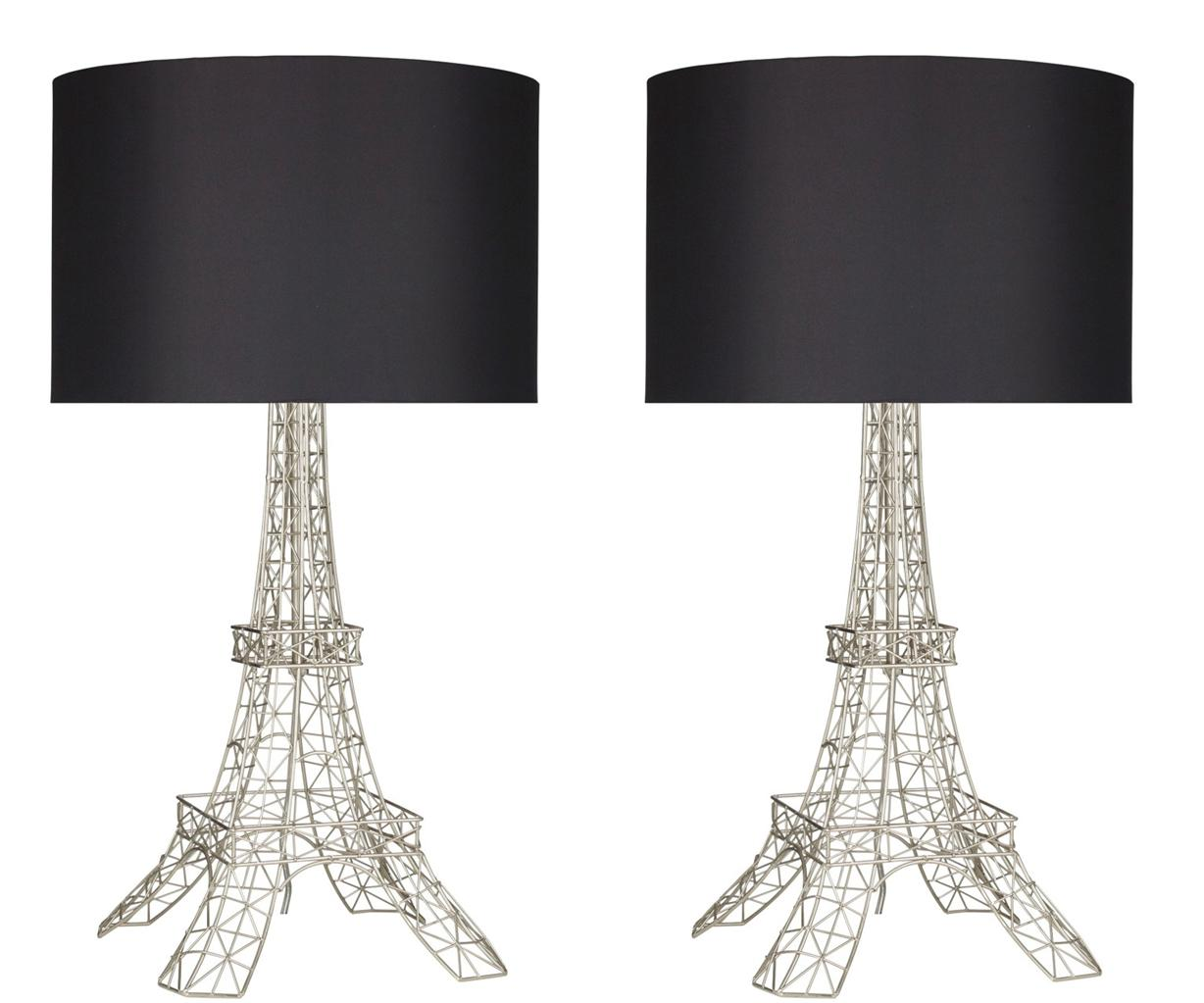 Set of 2 silver eiffel tower table bedside lamps lamp for Bedside table lamp shades