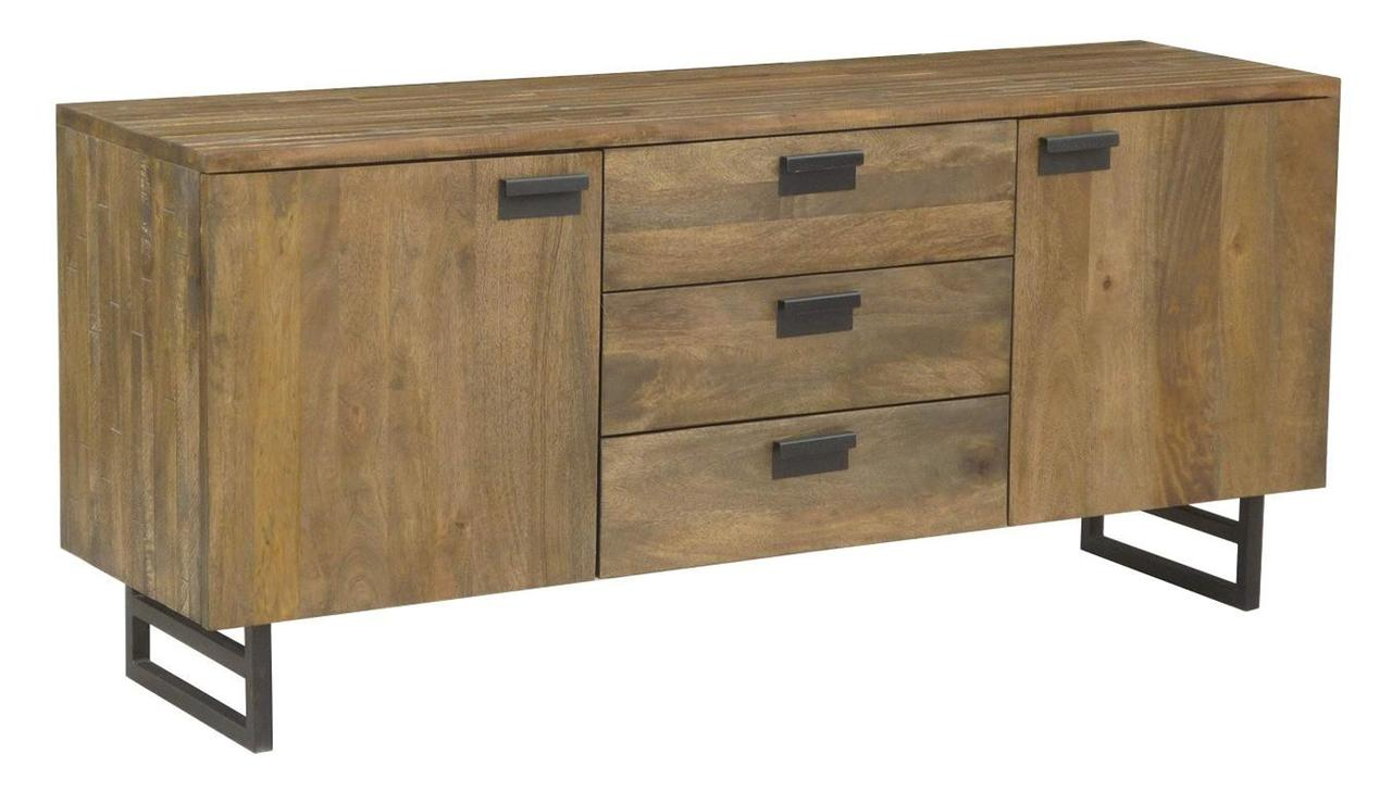 Indi solid hardwood timber modern industrial metal buffet sideboa - Buffet metal industriel ...