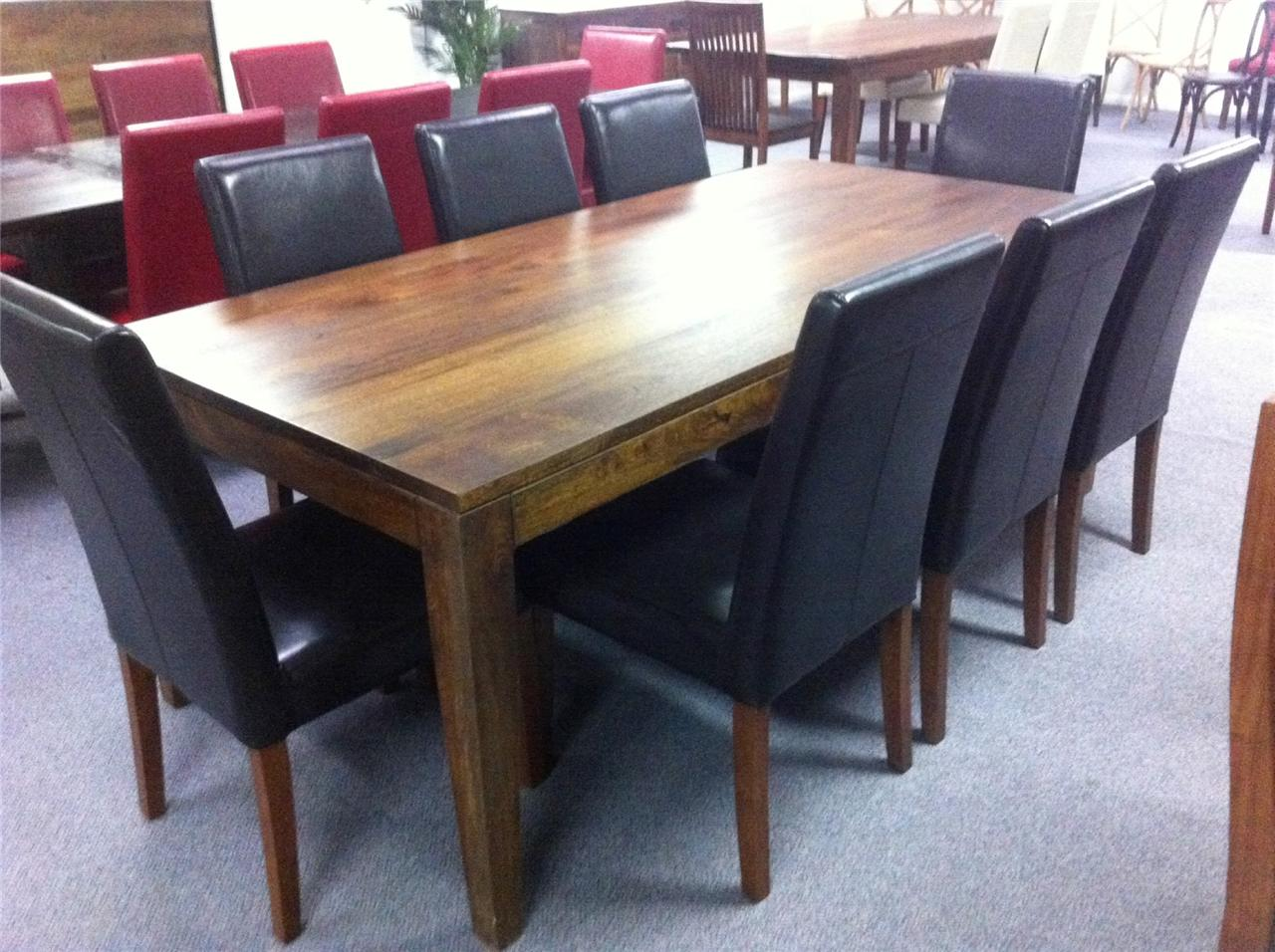 Solid Hardwood Timber Table 8 Chairs 9 Piece Dining SET Package EBay