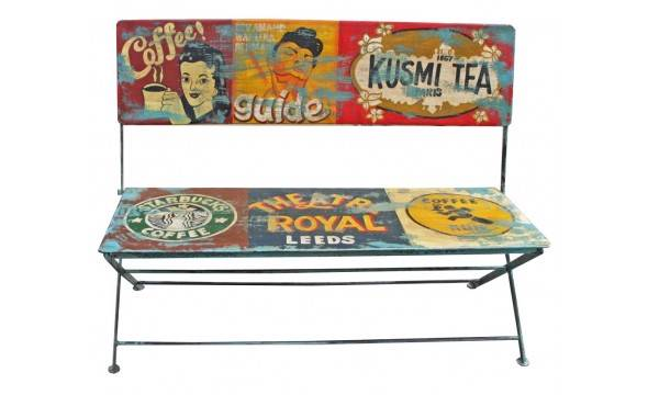NEW-Cafe-Series-Painted-Metal-Folding-Bench-Seat