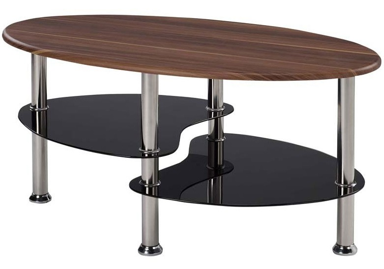 Evolve Contemporary Design Walnut Coffee Table With Chrome Legs Black Glass Ebay