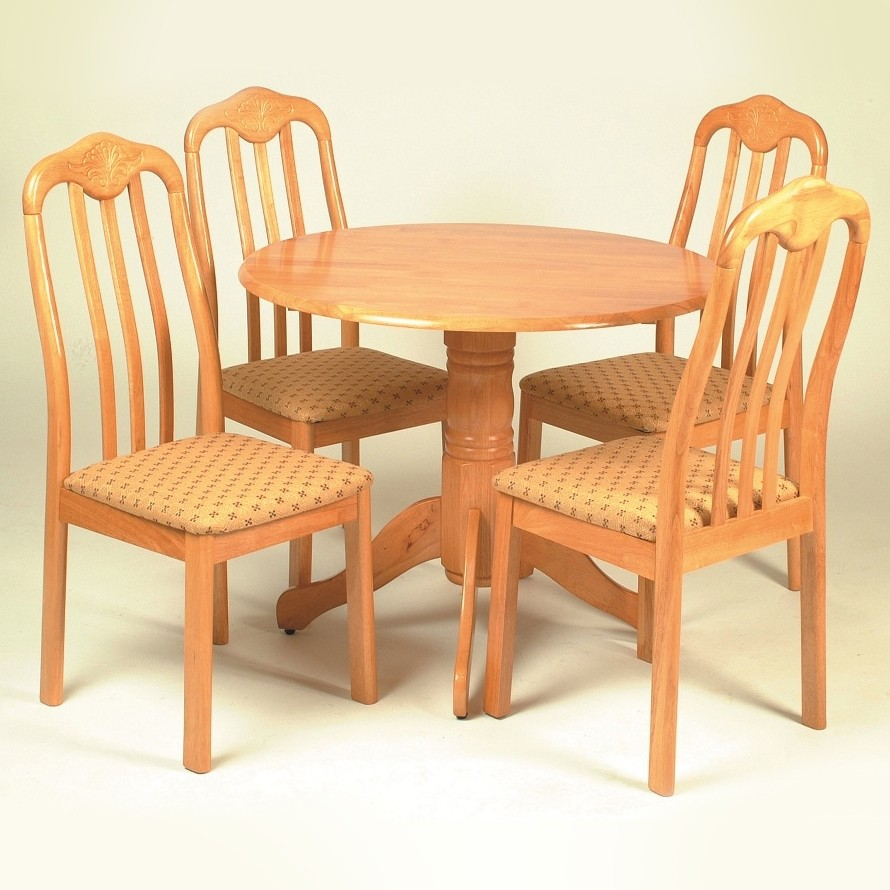Antique Pine Finish Round Dining Table Set With Pedestal