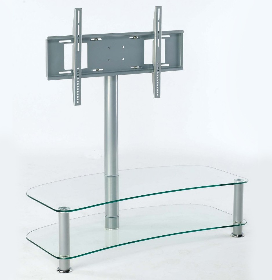 clear glass tv video dvd stand unit table with chrome legs sale ebay. Black Bedroom Furniture Sets. Home Design Ideas