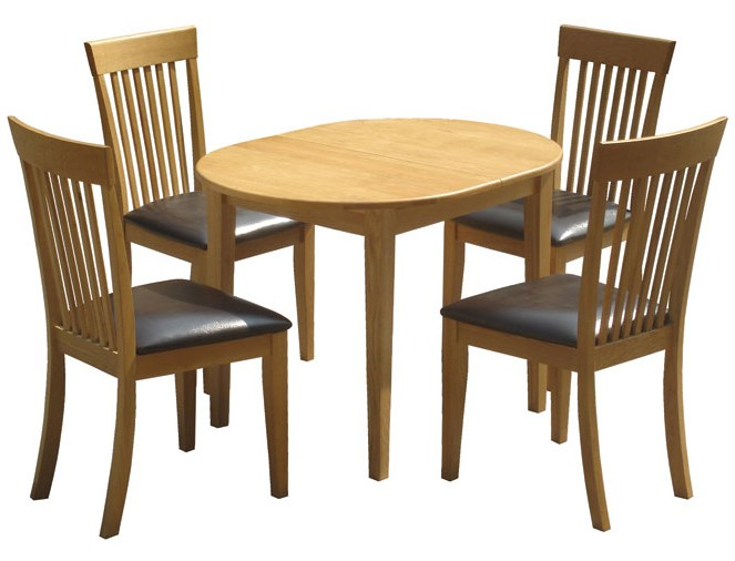 oak butterfly extension dining table set with 4 solid oak seat chairs