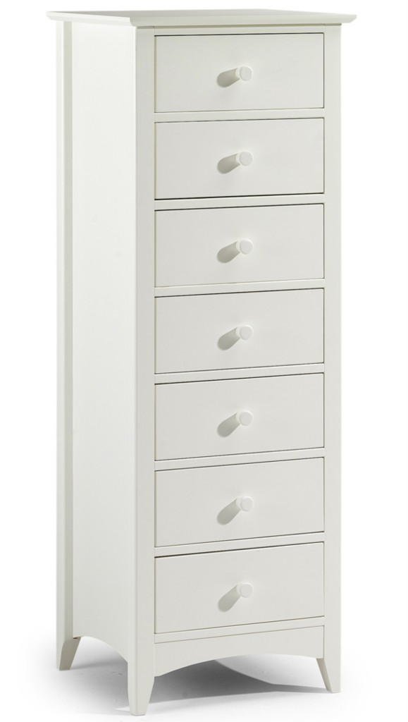 Stone White Lacquered Finish Tall Narrow Chest Of 7
