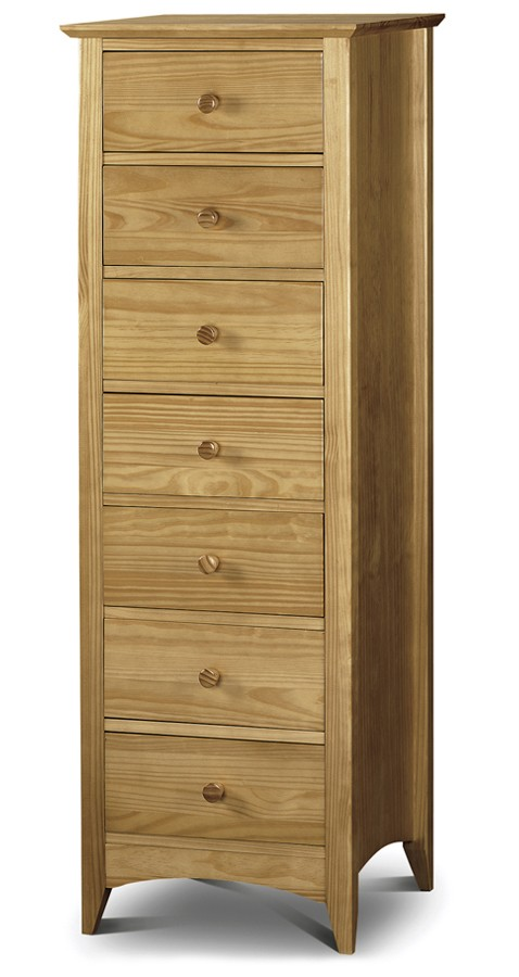 Tall Dresser Drawers ~ Traditional solid pine tall narrow chest of drawers