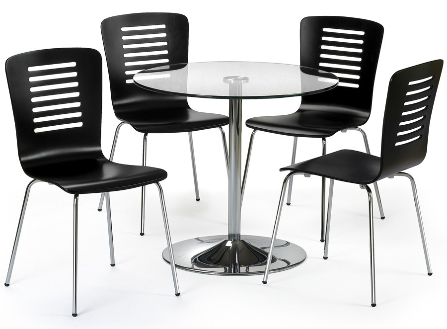 design chrome glass round dining table set 4 black chairs