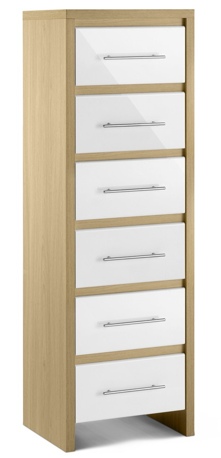 white high gloss oak finish tall narrow chest of 6 drawers dresser ebay. Black Bedroom Furniture Sets. Home Design Ideas