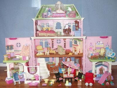 fisher price loving family grand dollhouse huge lot furniture twins people pets ebay. Black Bedroom Furniture Sets. Home Design Ideas