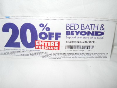 bed bath beyond coupon 20 off entire purchase exp 12 19 2011 ebay. Black Bedroom Furniture Sets. Home Design Ideas