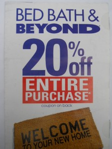 20 off entire purchase bed bath beyond coupon 10 2011 ebay. Black Bedroom Furniture Sets. Home Design Ideas