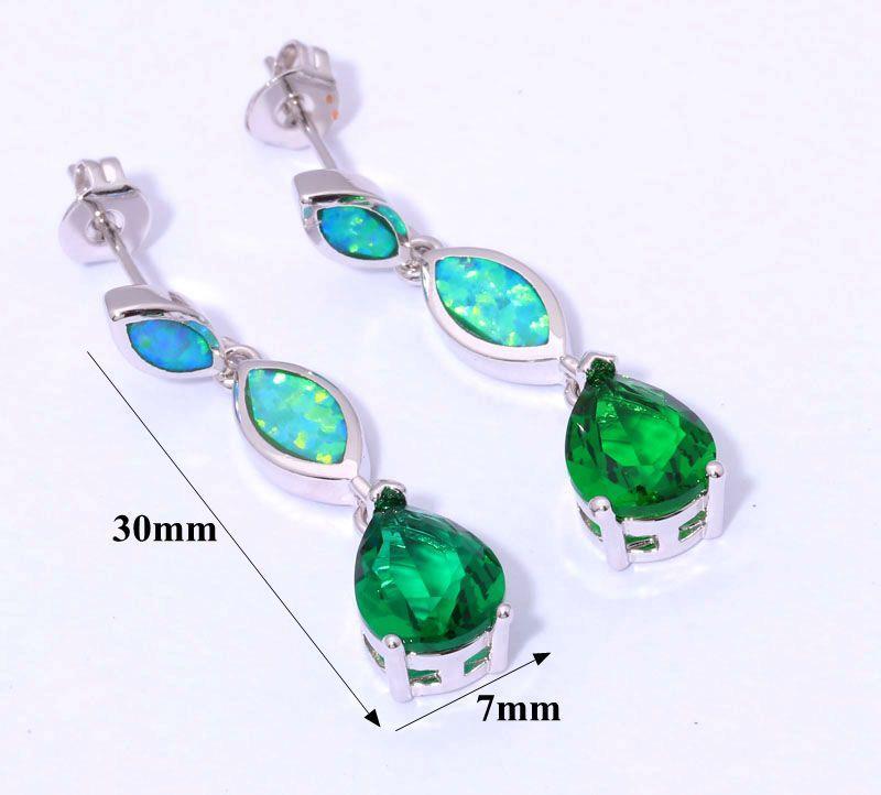Aquamarine Gemstone Earrings: Color Opal Aquamarine Topaz Women Jewelry Gemstone Silver