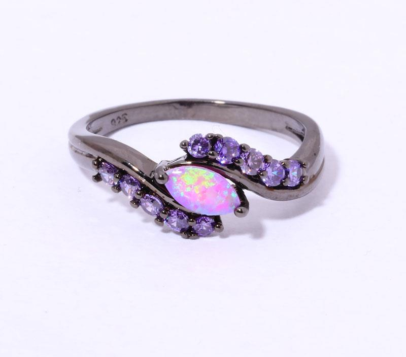 Pink Opal Women Jewelry Gemstone Silver & Black Gold Filled Ring Sz 5 9 O