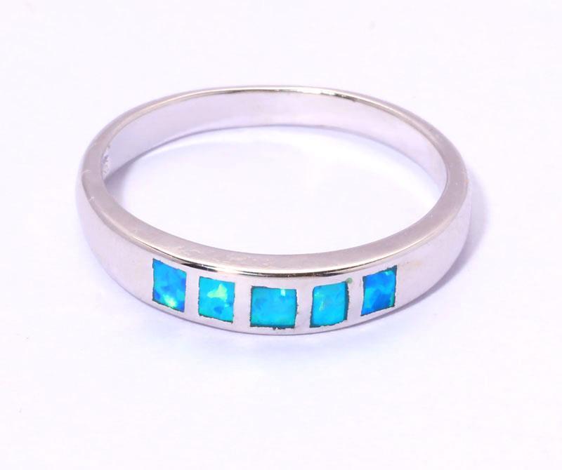 simple blue opal jewelry gemstone silver ring