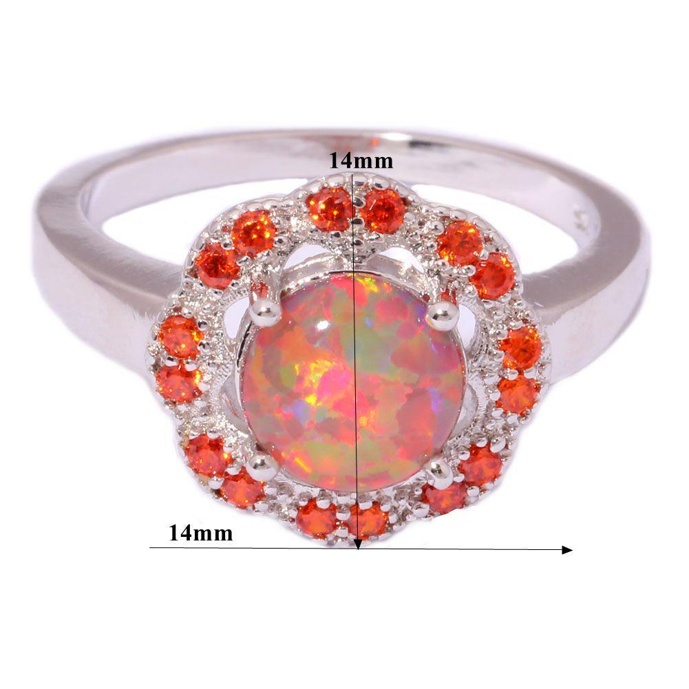 orange opal orange garnet silver jewelry