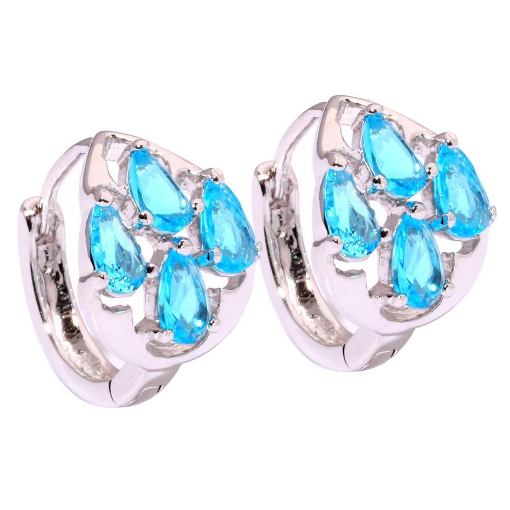 Aquamarine Gemstone Earrings: Aquamarine Silver Fashion For Women Jewelry Gemstone Hoop