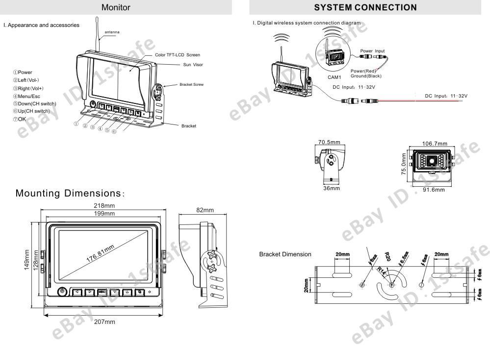 rear view backup camera system 7 u0026quot  digital wireless monitor