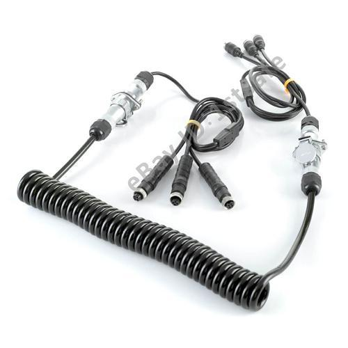 Rv Camera Cables And Connectors : Trailer spiral coil cable connector support rear view