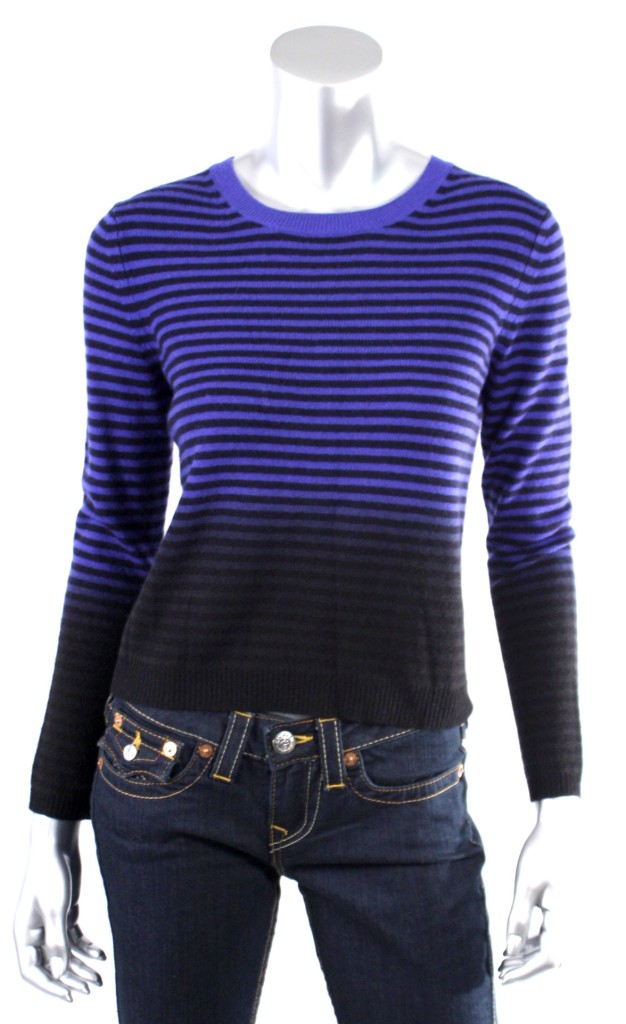 Theory-Women-039-s-Dark-Tidal-Wave-Sea-Captain-Long-Sleeve-Cashmere-Sweaters-Sz-P-S