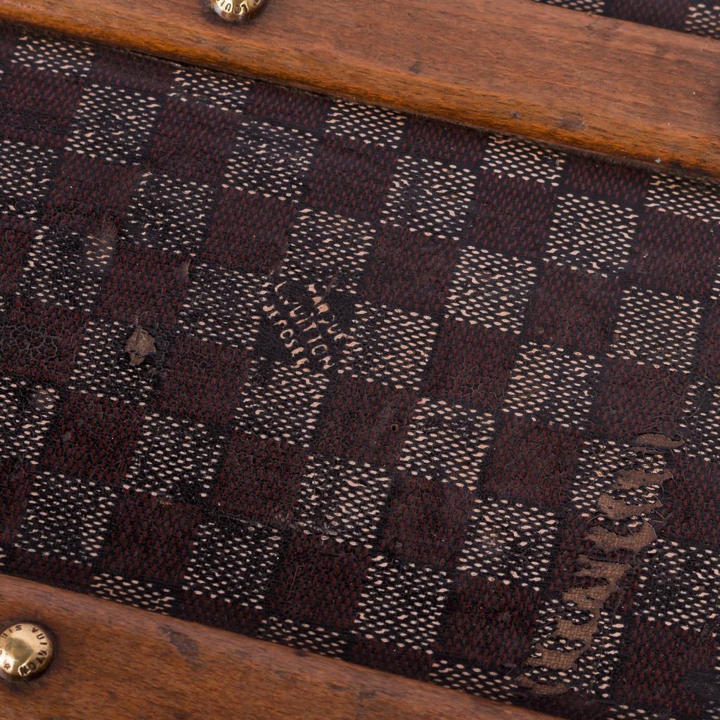 antique 19thc louis vuitton damier pattern steamer trunk c. Black Bedroom Furniture Sets. Home Design Ideas