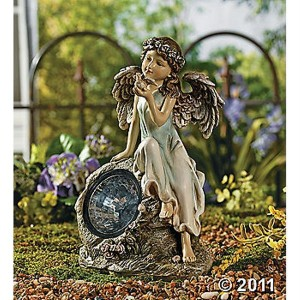 Whimsical solar lighted angel spotlight garden statue 12 h for Whimsical garden statues