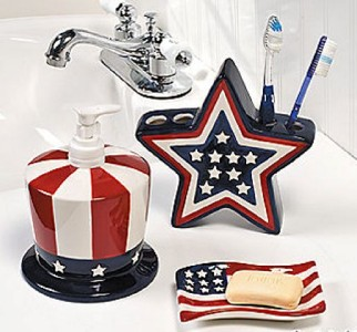 Patriotic bathroom accessories ceramic american flag decor for Red white and blue bathroom accessories