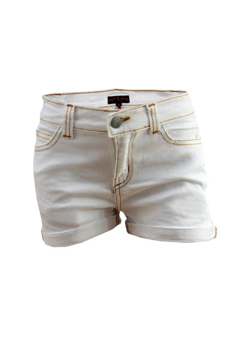 Girls-Turn-up-Hem-White-Denim-Shorts-Age-7-8-9-10-11-12-13-Years