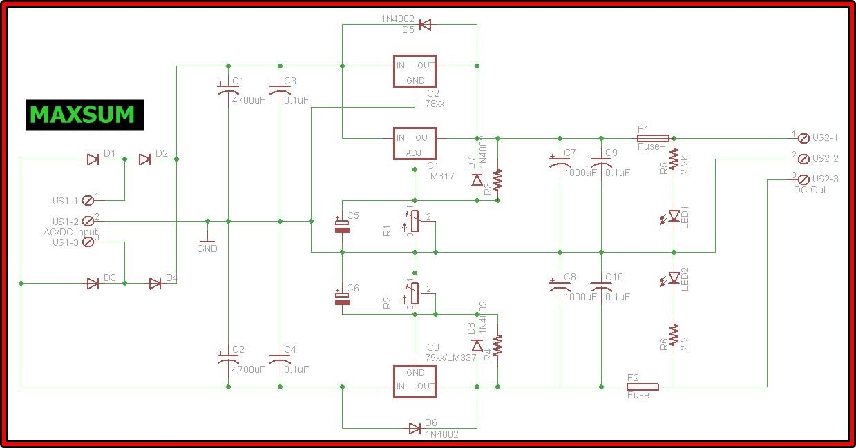 Dual Voltage Regulator Pcb For 78xx Or Lm317 Series Ic