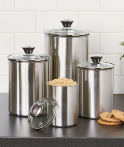 new 4 pc stainless steel canister set w self sealing