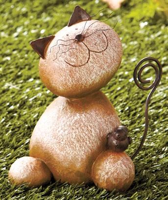 Outdoor stone animal sculptures bunny cat caterpillar for Cat yard art