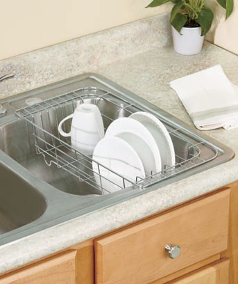new in sink hanging dish drying rack chrome or white dryer kitchen new ebay. Black Bedroom Furniture Sets. Home Design Ideas
