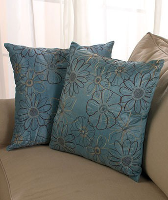2 pc embroidered pillow set 3 colors brown blue or beige accent decor couch ebay - Brown sofa with blue pillows ...