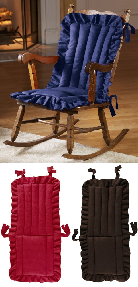quilted ruffle chair cushion red brown or blue tie on back rocking rocker pad. Black Bedroom Furniture Sets. Home Design Ideas