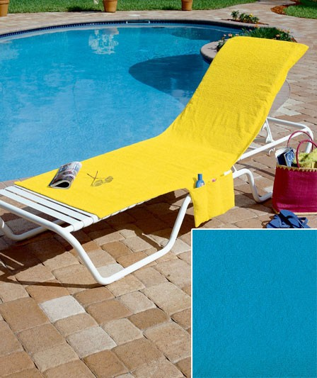 New Folding Lounge Chair Towel Cover 4 Bright Colors Deck Pool Tote Terry