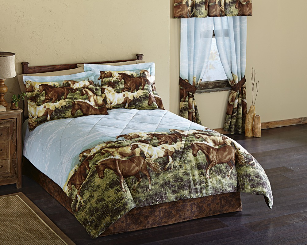 details about western horse bedding set comforter bedskirt amp pillow