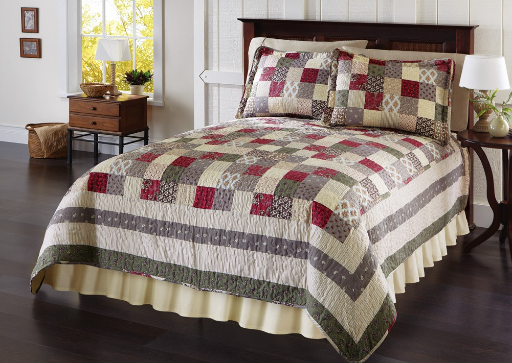 Patchwork bedding set quilted bedspread shams full for King shams on queen bed