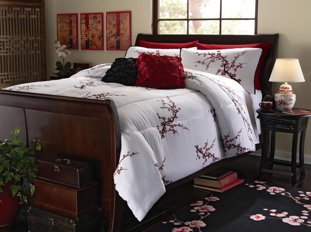 asian cherry blossom bedding set red white comforter sham twin full queen king ebay. Black Bedroom Furniture Sets. Home Design Ideas