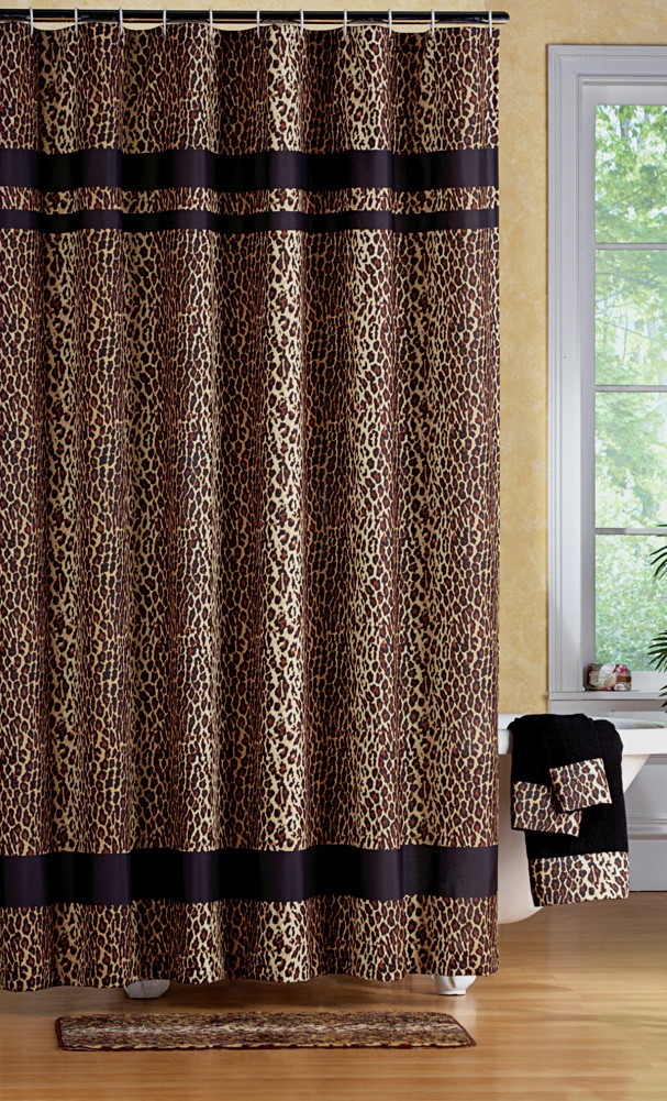 leopard print bathroom set shower curtain rugs towels mat animal jungle. Black Bedroom Furniture Sets. Home Design Ideas