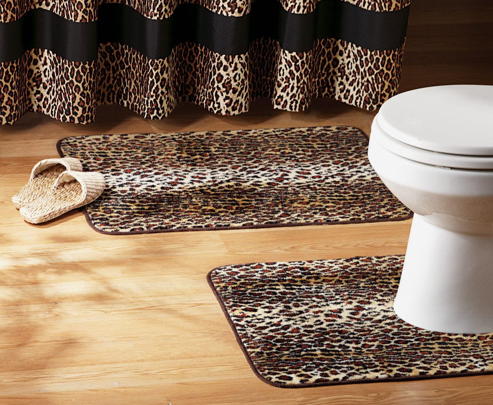 Leopard print bathroom set shower curtain rugs towels for Bathroom decor rugs