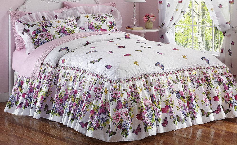 Gentil Image Is Loading Butterfly Garden Quilted Bedspread Comforter  Floral Pink Ruffled