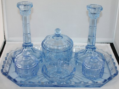 Blue Glass Vanity Light : Vintage Light Blue Glass Dressing Table Vanity Set RARE
