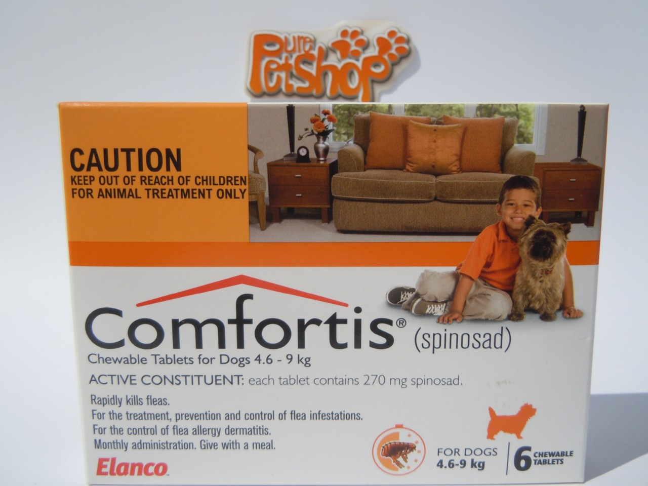 Comfortis-For-Dogs-Orange-Chewable-Flea-Tablets-4-6kg-9kg-6-Month-Pack