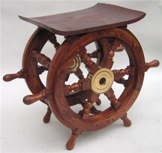Nautical Marine Wood Ship Wheel Side Coffee Table 18 Ebay