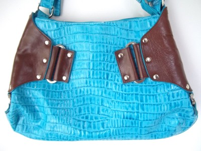 Turquoise Faux Croc Brown Leather Silver Hardware Handbag Purse