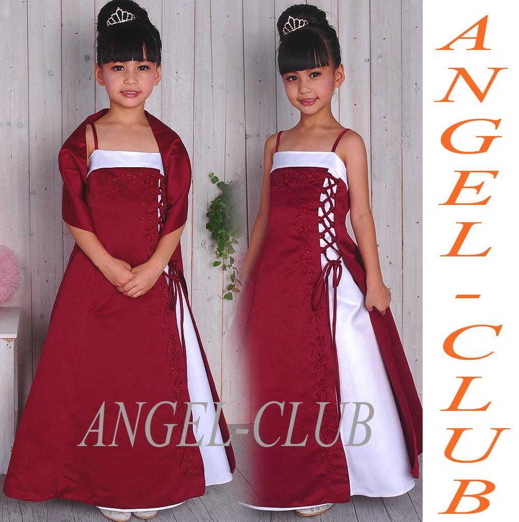Bur1444-NWT-PAGEANT-BRIDESMAIDS-GIRL-BURGUNDY-WHITE-DRESS-4-18