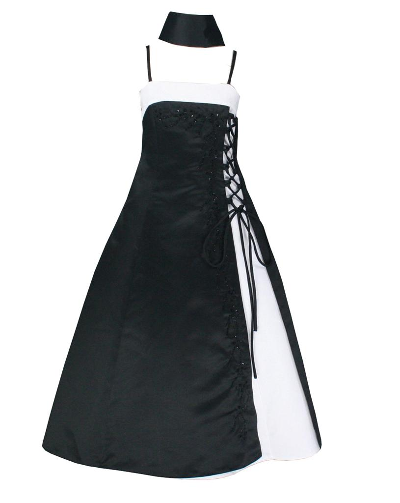 BK1444-NWT-PAGEANT-BRIDESMAIDS-Flower-Girl-dress-Black-White-Sz-13-14-Years