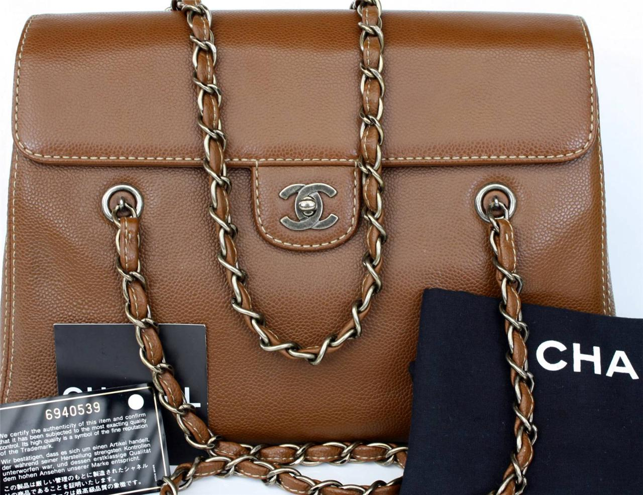 AUTH-CHANEL-Brown-Caviar-Leather-CC-Shoulder-Bag-Tote