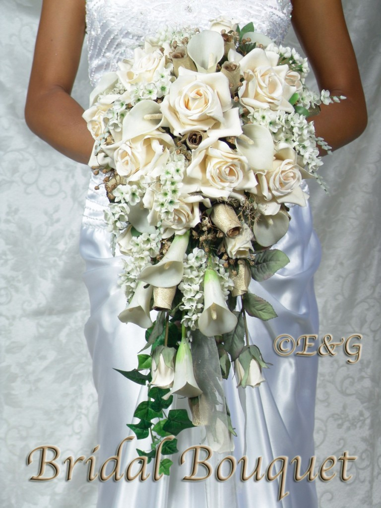 cream gold bouquet wedding bouquets bridal bridesmaid silk flowers