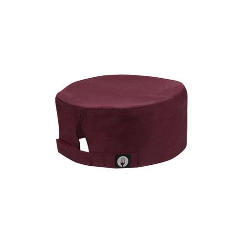 chef works beanie merlot cool vent fabric top velcro