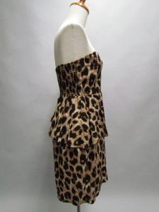 Black Leopard Print Sweetheart Asymmetrical Ruffled Peplum Dress SMALL